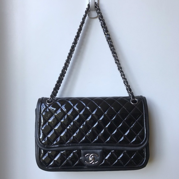 CHANEL Handbags - SOLD Chanel quilted patent flap bag.